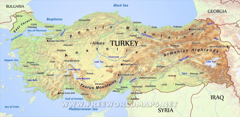 Turska Geografska Karta Turske Zemljopisna Karta Zapadna Azija