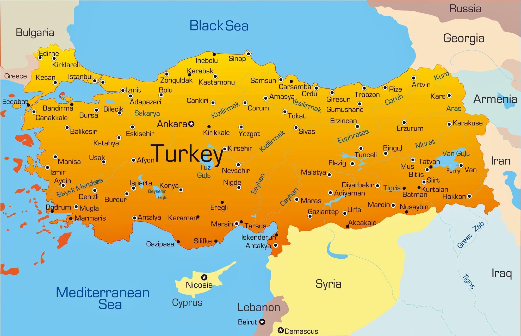 Turska Karta Gradova Velikih Gradova U Turskoj Kartice Zapadna