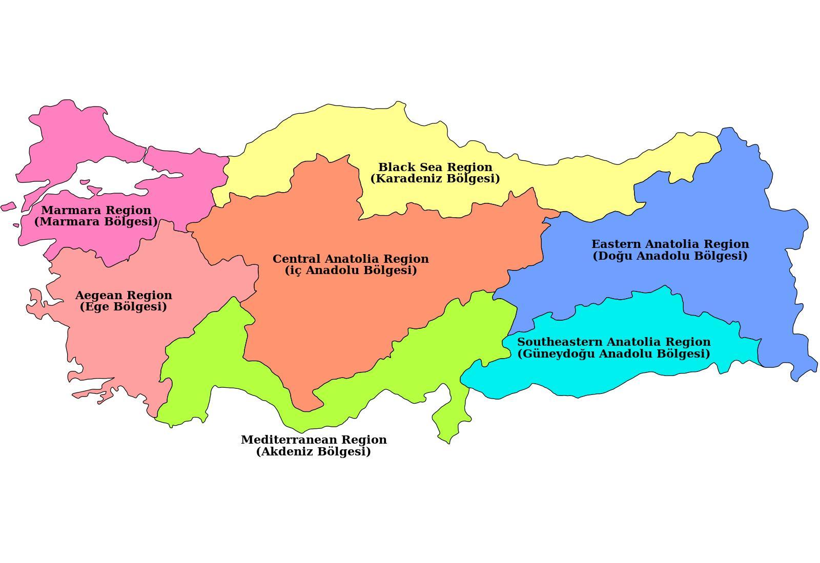 karta turske Turska karta područja   karta Turske regija (Zapadna Azija   Azija) karta turske