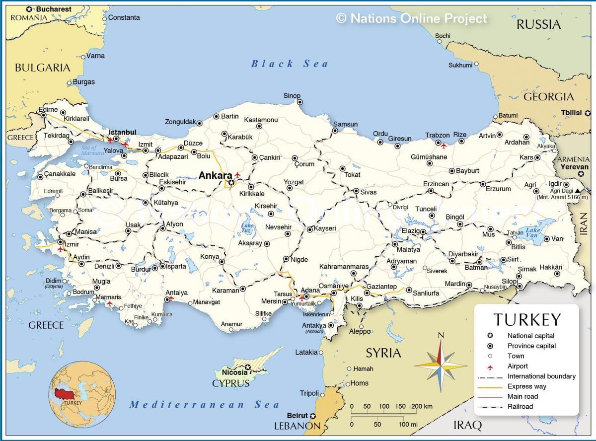 karta turske Karta Turske i graniči zemalja svijeta   karta Turske i susjednih  karta turske
